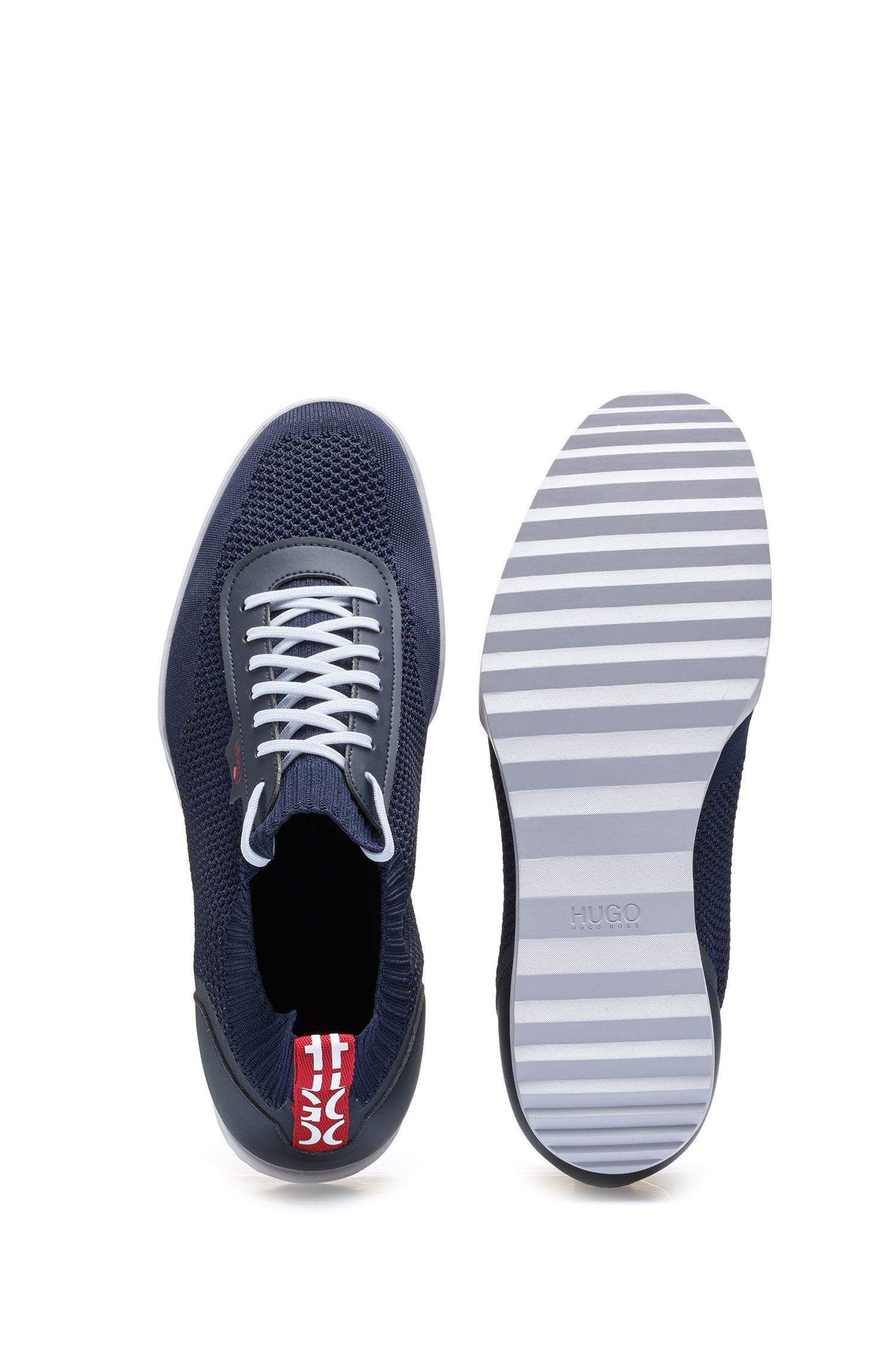 Hugo Boss - Low-profile trainers with laces and knitted sock - 4