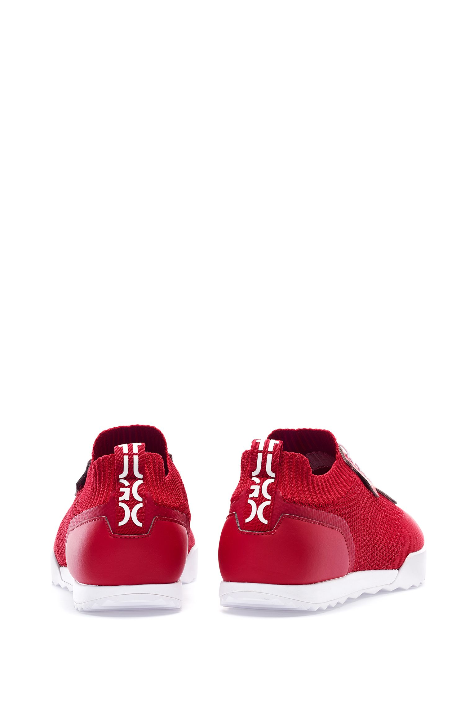 Low-profile trainers with laces and knitted sock, Red