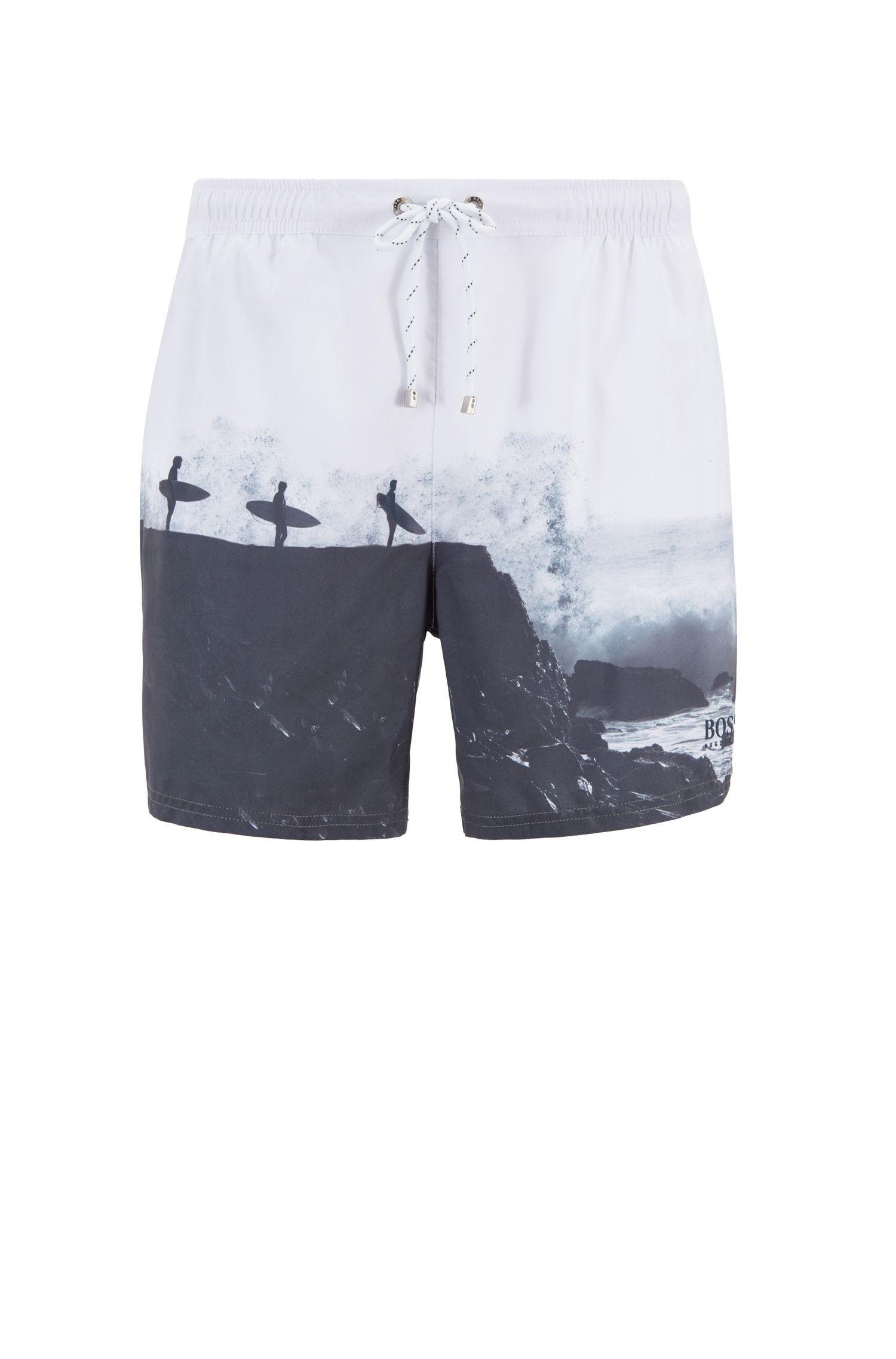 Photo-print swim shorts in quick-drying fabric, Open White