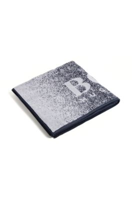 Serviette de plage en coton éponge avec logo, Bleu vif