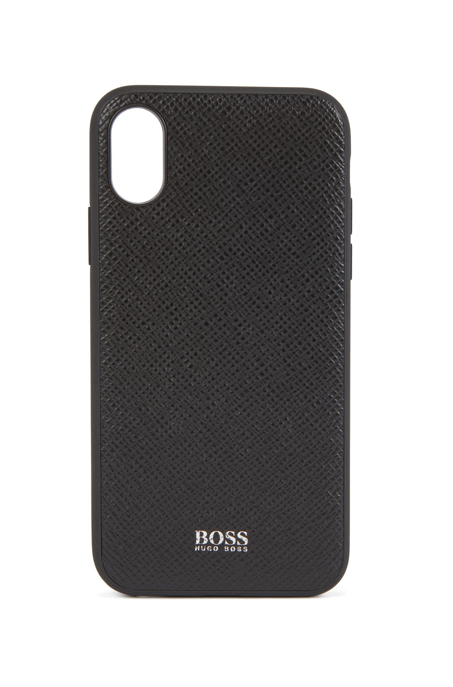 Signature Collection smartphone cover in embossed palmellato leather, Black