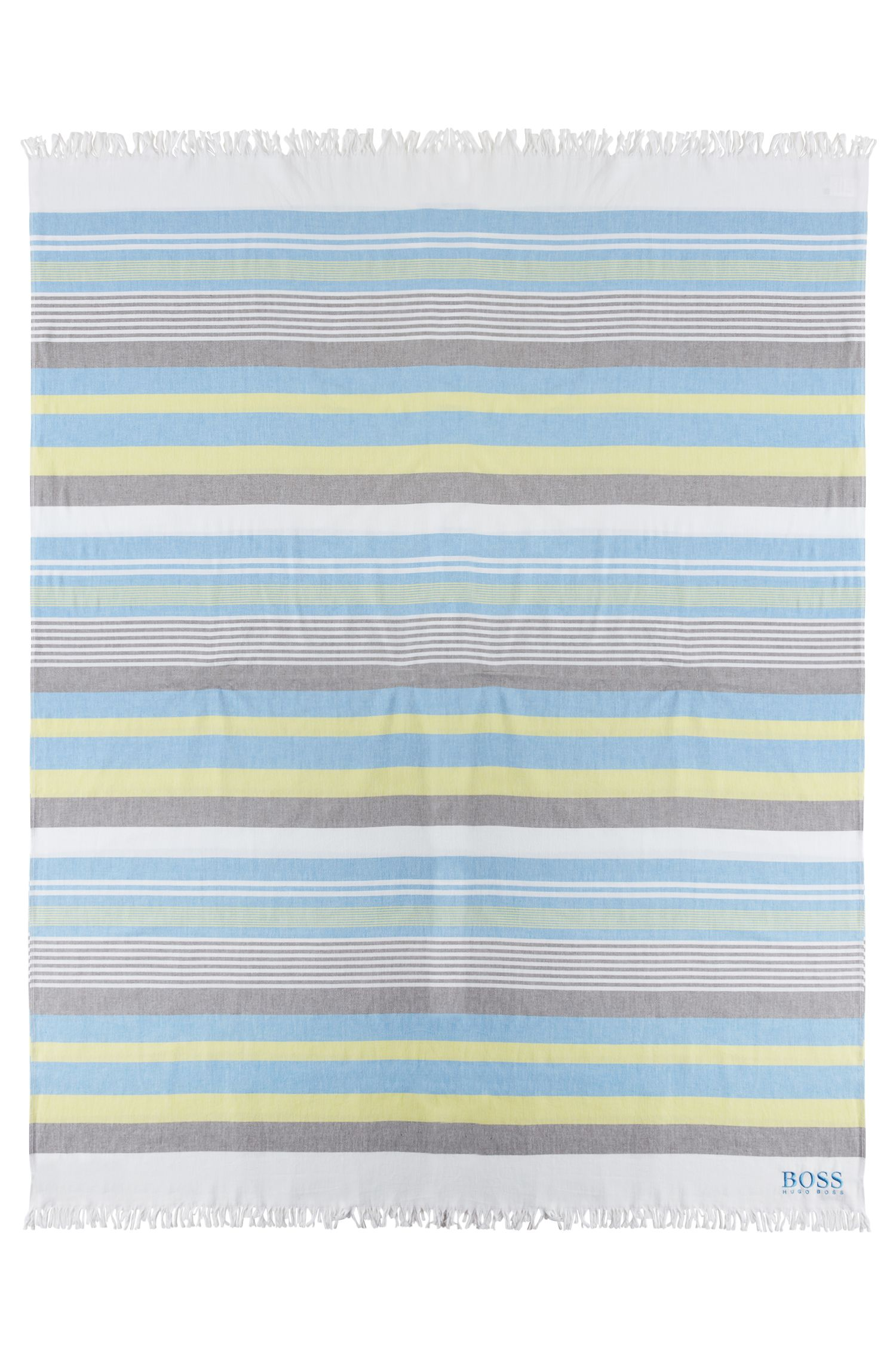 Lightweight striped beach towel in cotton terry jacquard, Open White