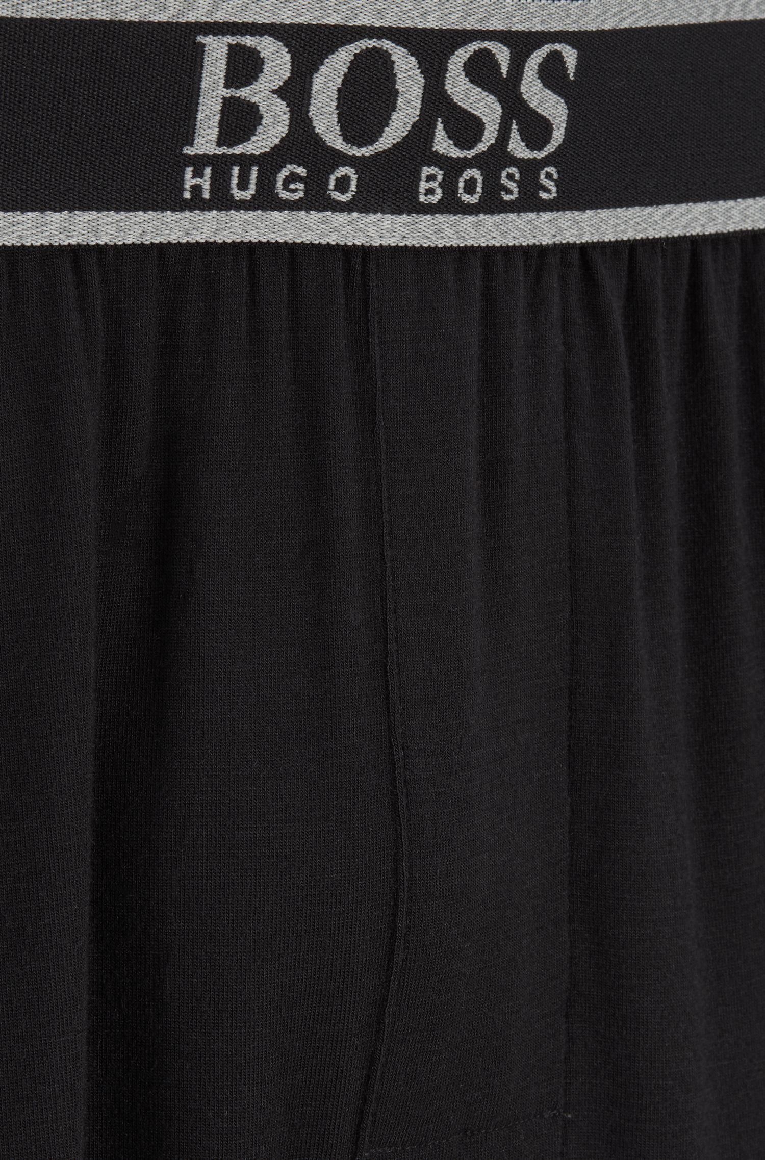 Pantalones de pijama en modal elástico con logo en la cintura, Negro