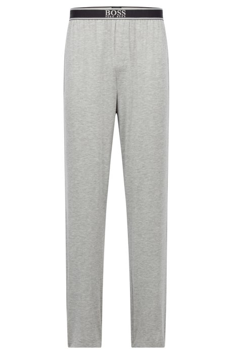 Logo-waistband pyjama bottoms in stretch modal, Grey