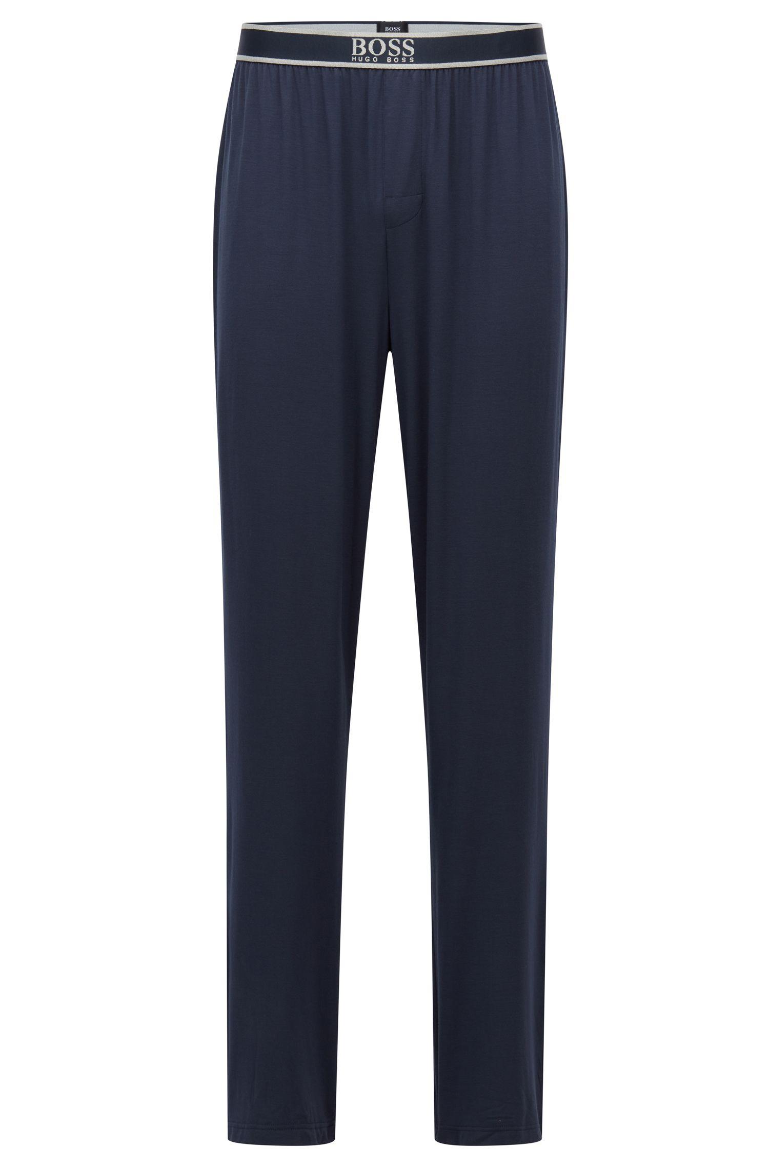 Pyjama-Hose aus Stretch-Modal mit Logo am Bund, Dunkelblau