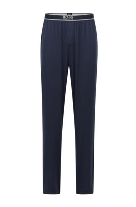 Logo-waistband pyjama bottoms in stretch modal, Dark Blue
