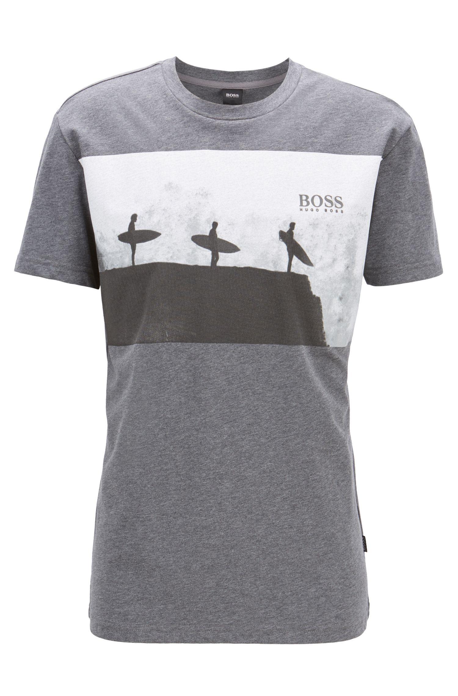 Relaxed-Fit T-Shirt aus melierter Baumwolle mit Strand-Motiv, Grau