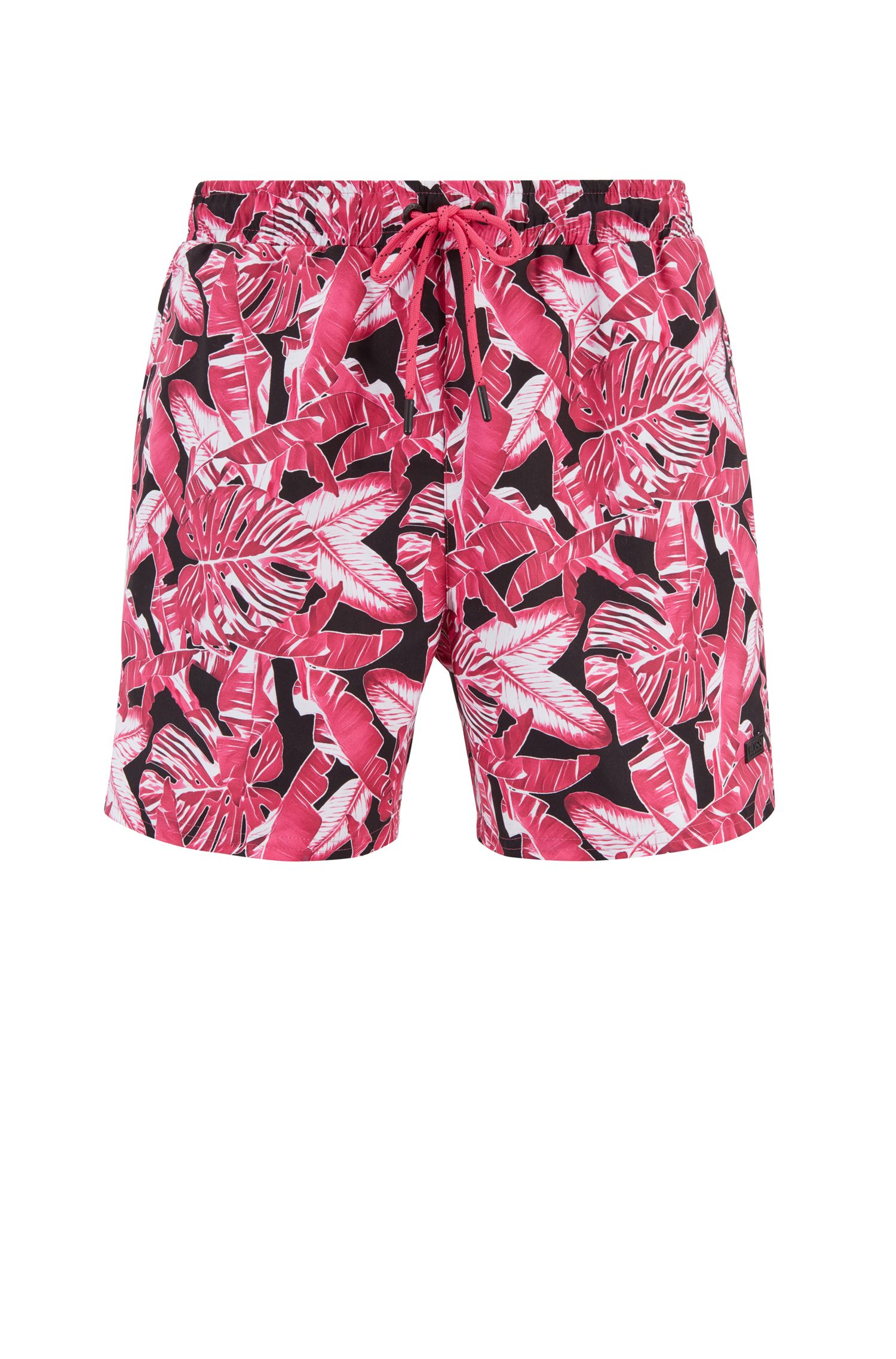 Leaf-print swim shorts in quick-drying fabric, Open Pink