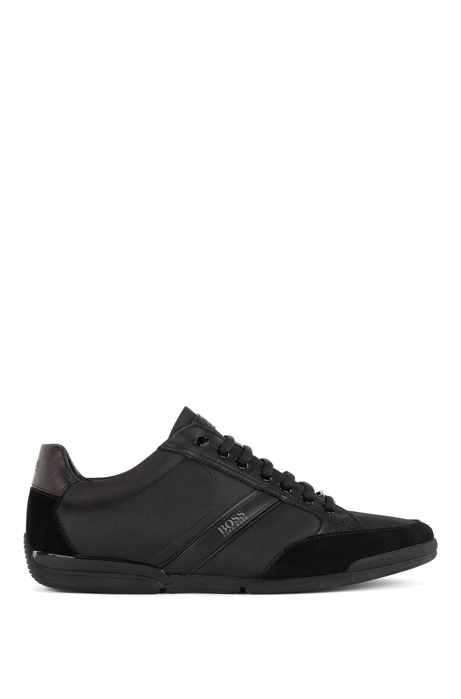 Lace-up hybrid trainers with moisture-wicking lining, Black