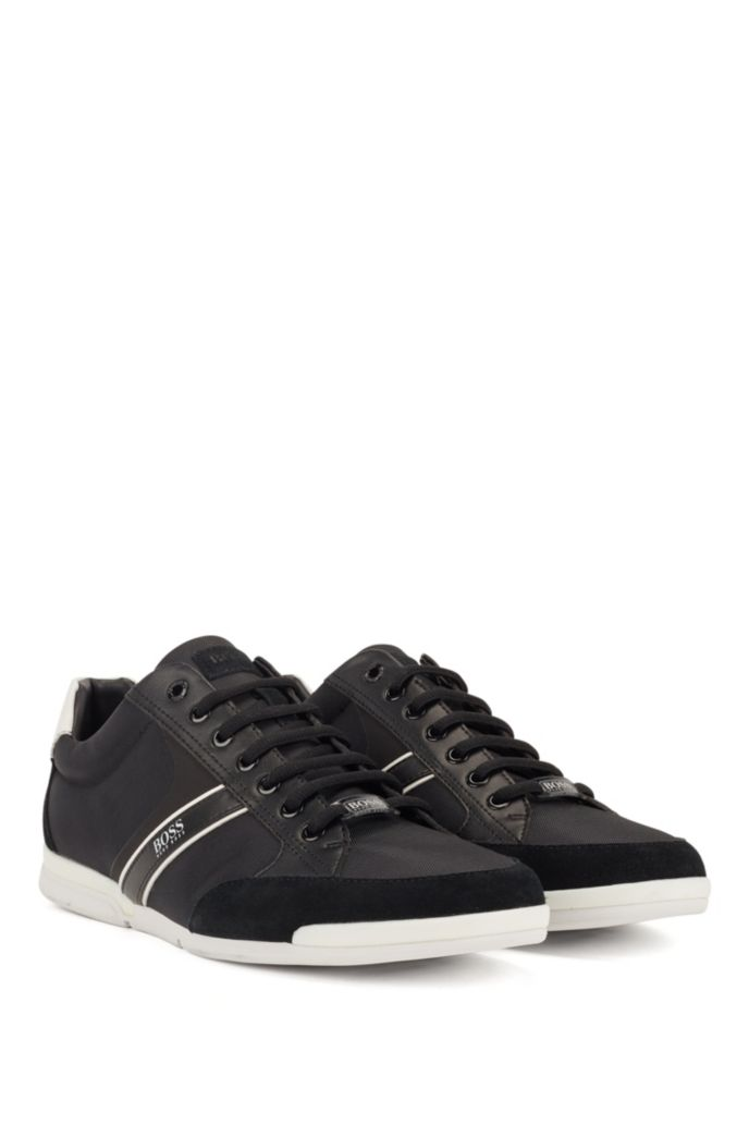 Lace-up hybrid trainers with moisture-wicking lining