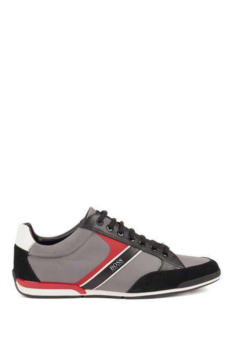 Lace-up hybrid trainers with moisture-wicking lining, Grey