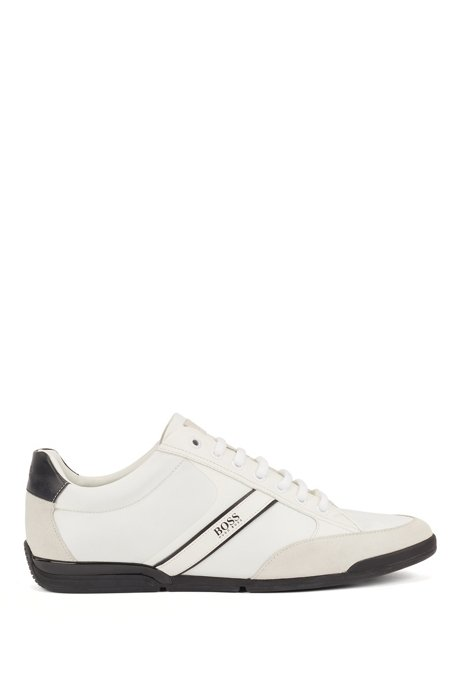 Lace-up hybrid trainers with moisture-wicking lining, White