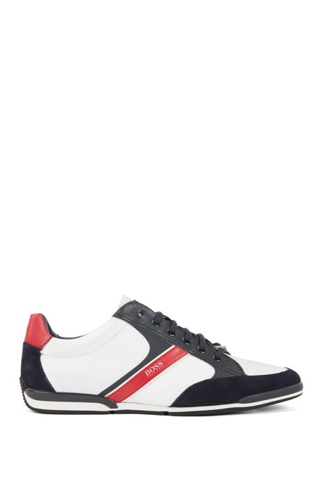 Lace-up hybrid trainers with moisture-wicking lining, Natural