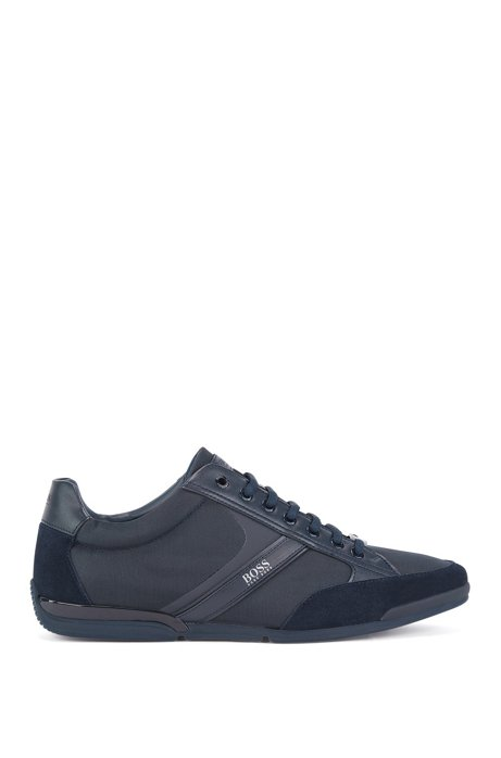 Lace-up hybrid trainers with moisture-wicking lining, Dark Blue
