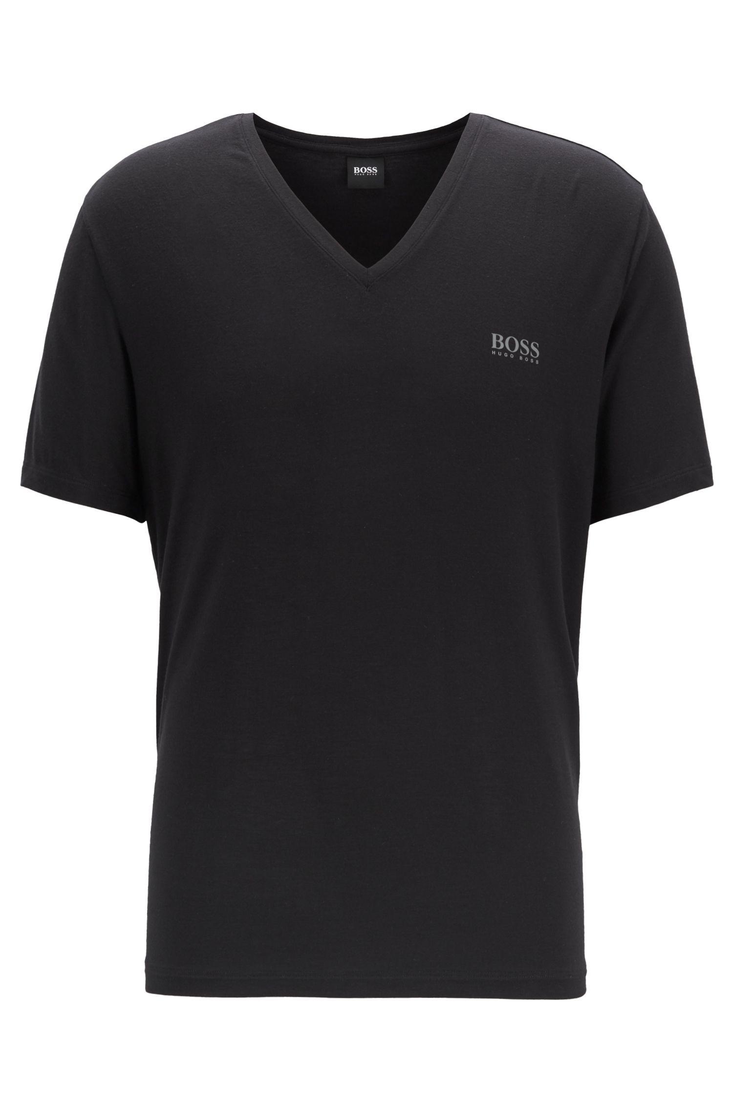 Regular-fit V-neck pyjama T-shirt in stretch modal, Black