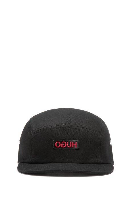 Unisex cap in cotton twill with reverse logo, Black