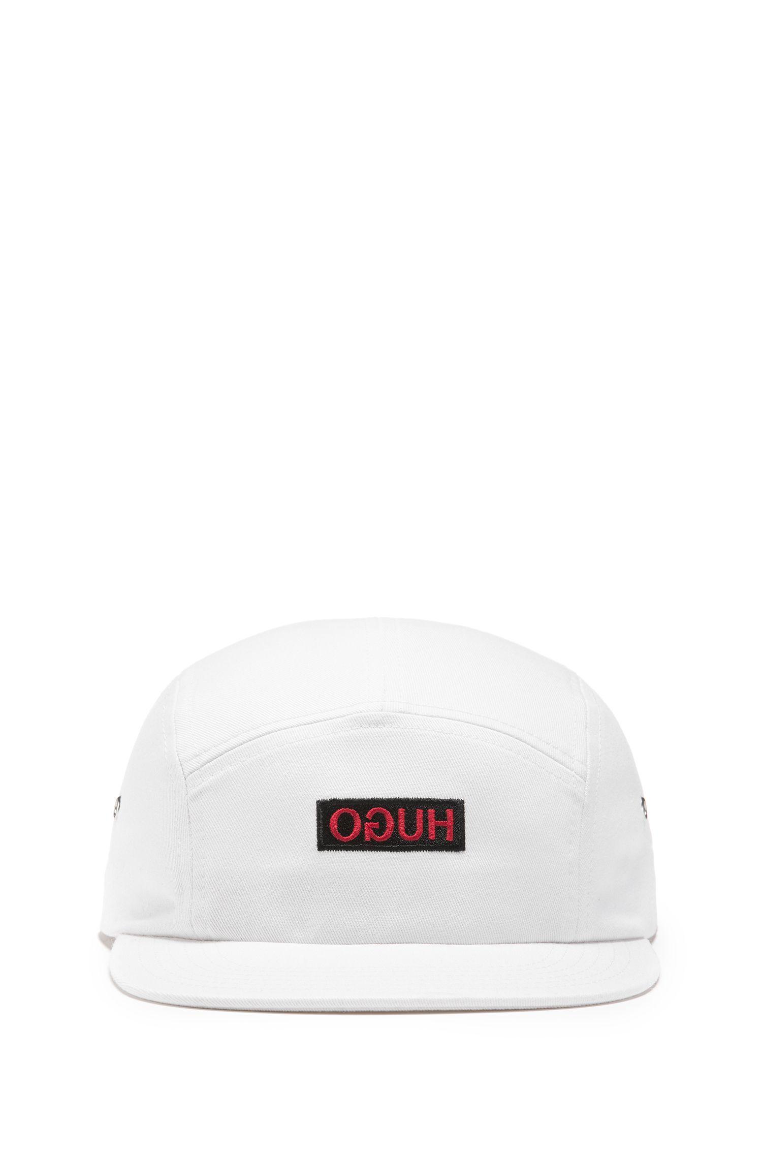 Unisex-Cap aus Baumwoll-Twill mit spiegelverkehrtem Logo, Weiß