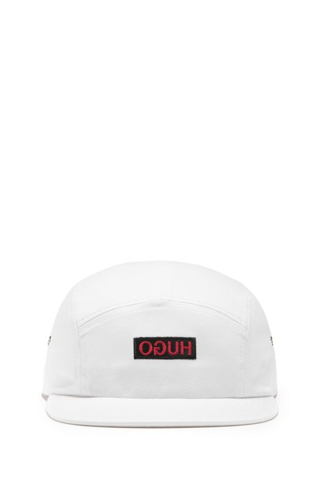 Unisex cap in cotton twill with reverse logo, White
