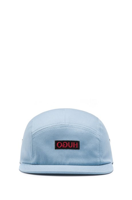 Unisex cap in cotton twill with reverse logo, Turquoise