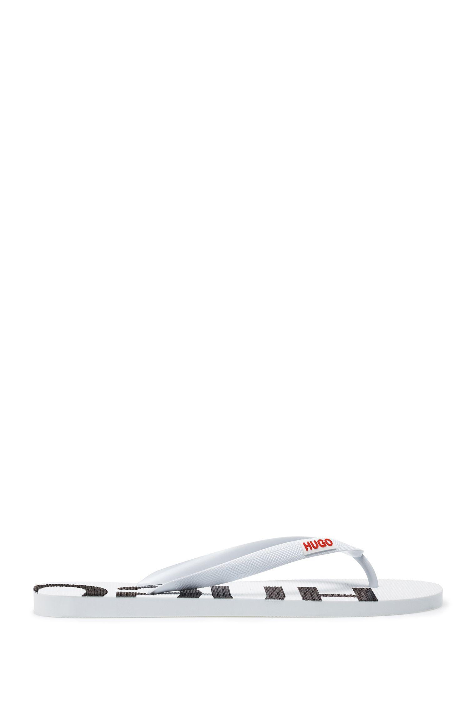 In Italien gefertigte Flipflops mit Logo-Details, Weiß