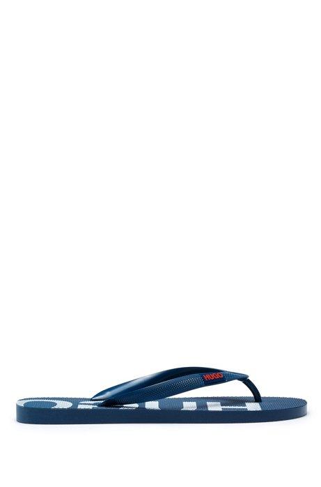 Italian-made flip-flops with logo details, Dark Blue