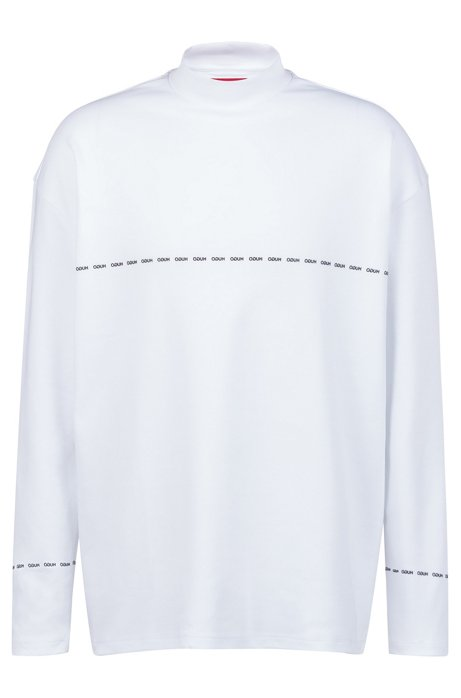 Unisex long-sleeved T-shirt with reverse-logo detailing, White