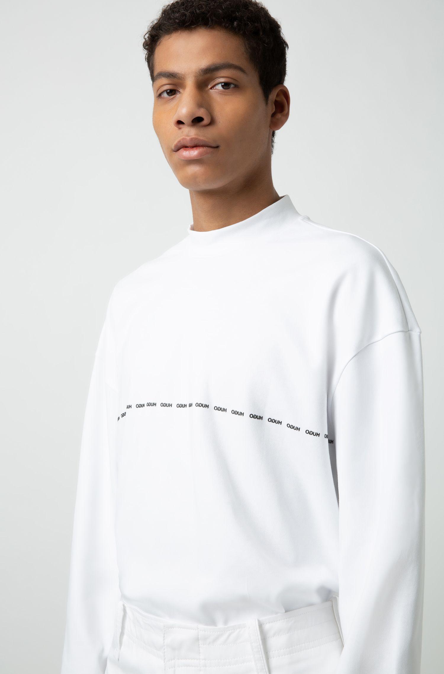 Uniseks T-shirt met lange mouwen en gespiegelde logodetails, Wit
