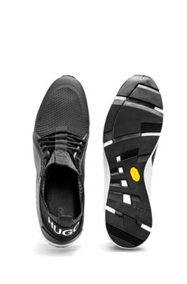 Running-inspired trainers with Vibram sole and knitted sock, Black
