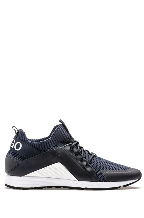 Sneakers stile runner con suola Vibram e calza interna in maglia, Blu scuro
