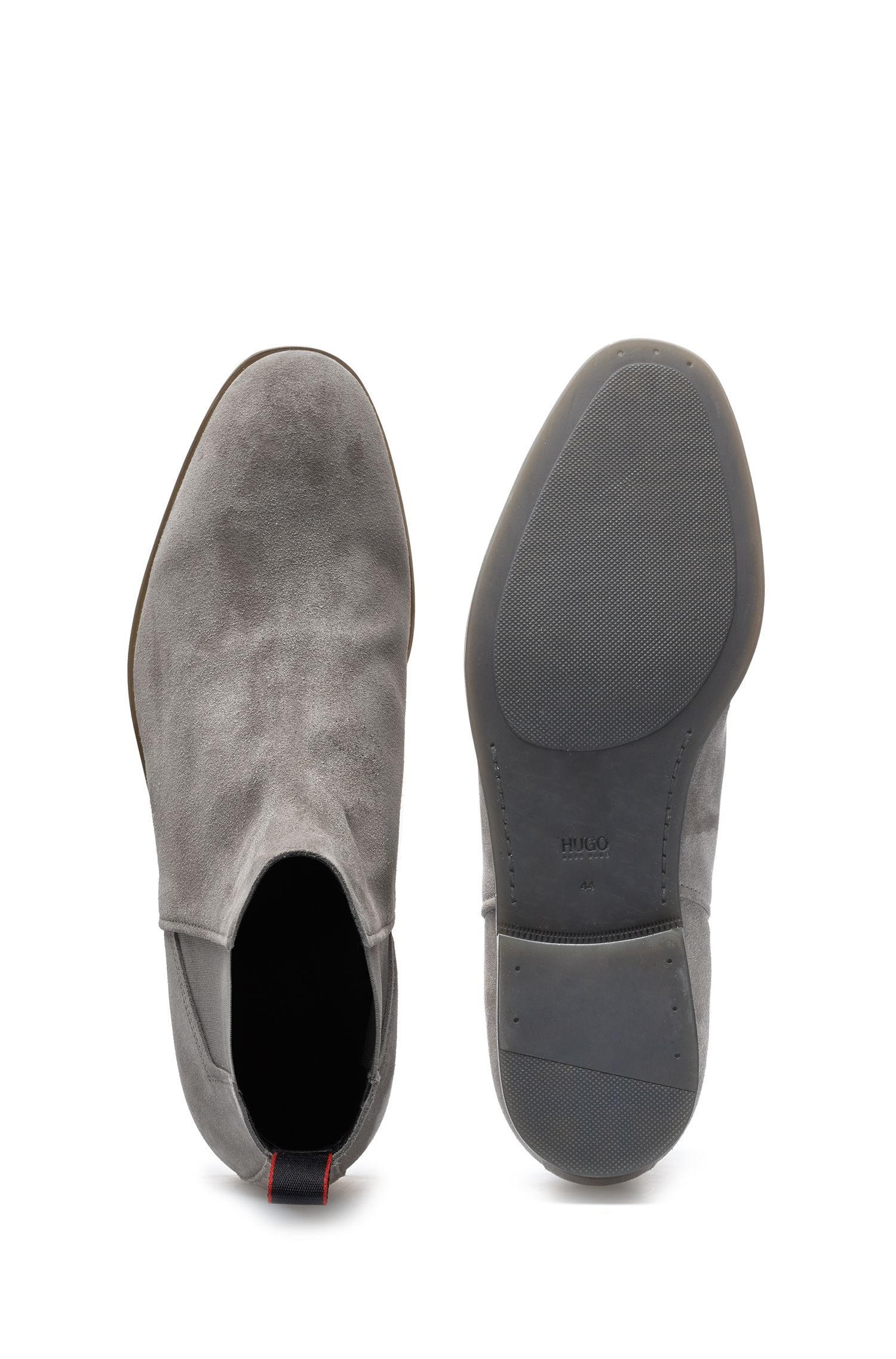 Rubber-soled Chelsea boots in suede leather, Light Grey
