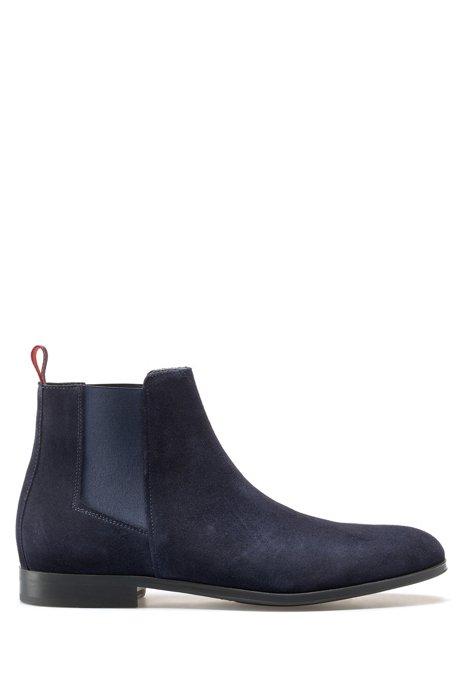 Botines de estilo Chelsea con suela de goma y piel de ante, Azul oscuro