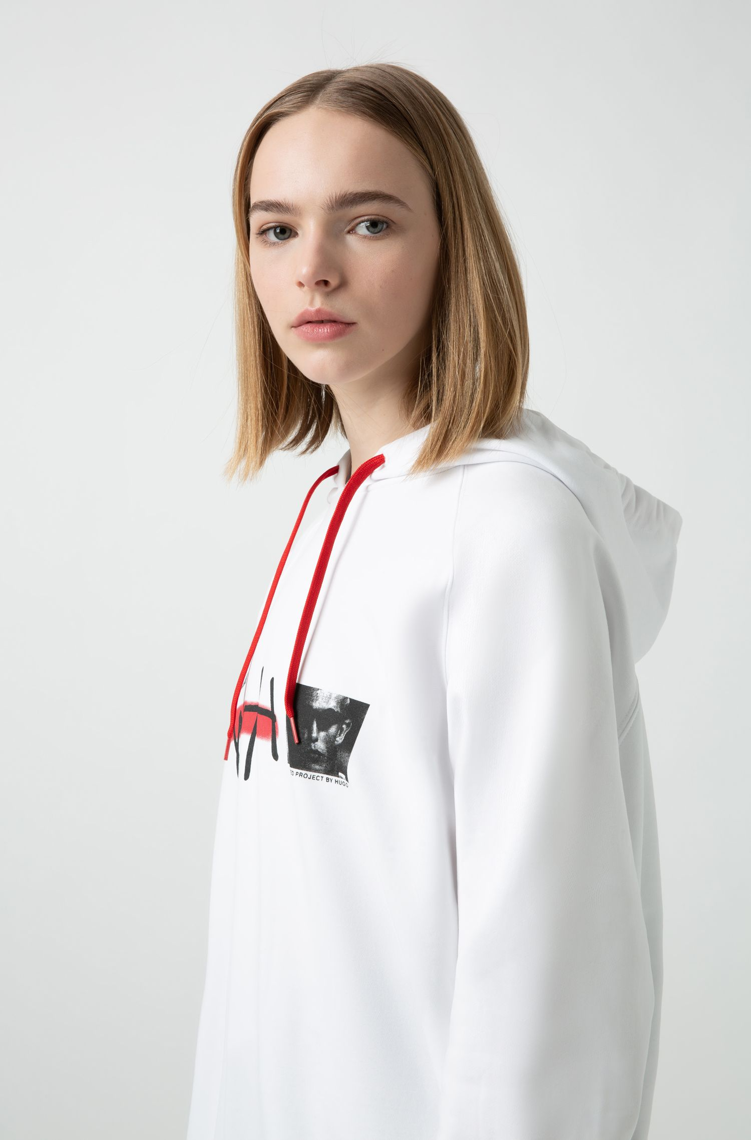 Unisex oversized-fit hooded sweatshirt with curated-project artwork, White