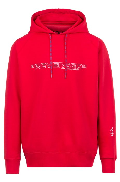 Unisex oversized-fit hoodie with collection print, Red