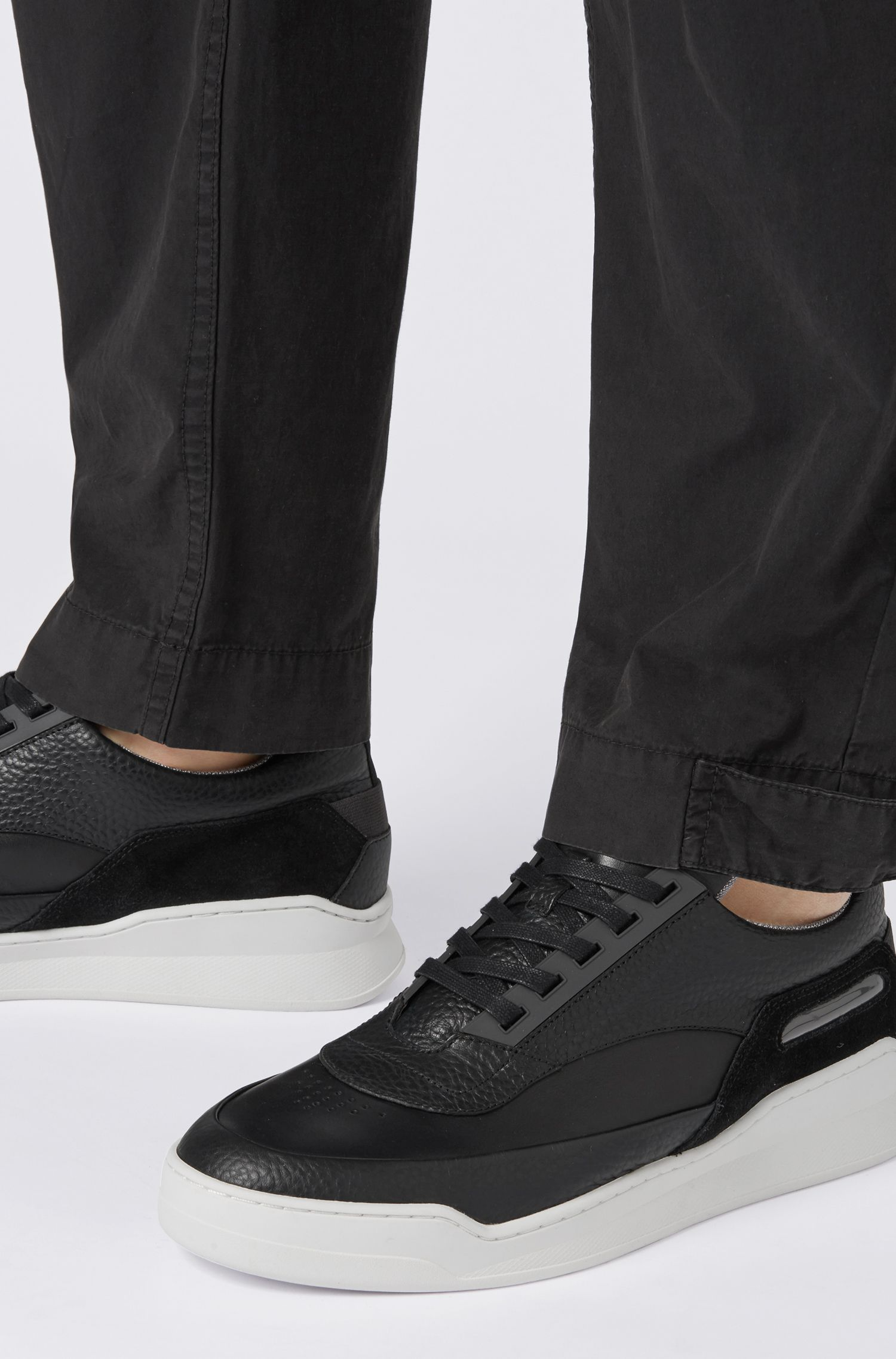 Logo-tongue trainers in mixed leathers, Black