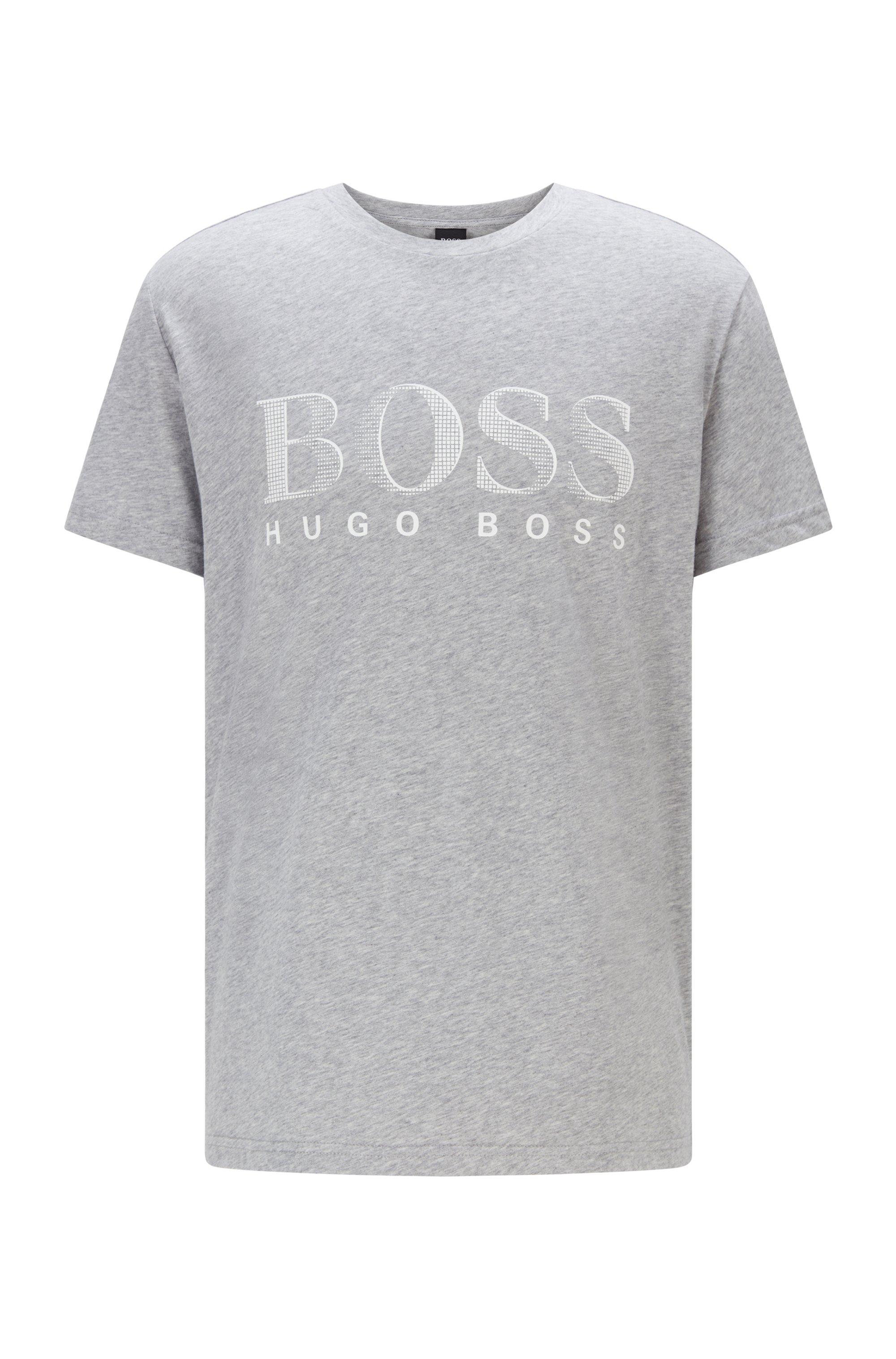 Relaxed-Fit T-Shirt aus Baumwolle mit UV-Schutz LSF 50+ und Logo, Silber