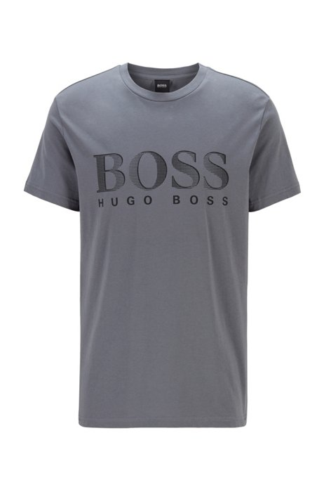 Relaxed-fit T-shirt in UPF 50+ cotton with logo, Light Grey