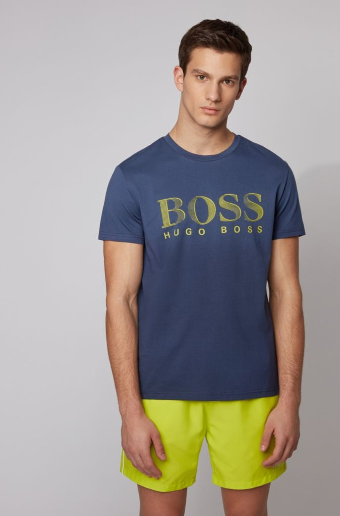 BOSS Mens T-Shirt RN Cotton Relaxed-fit T-Shirt with UPF 50 Finishing