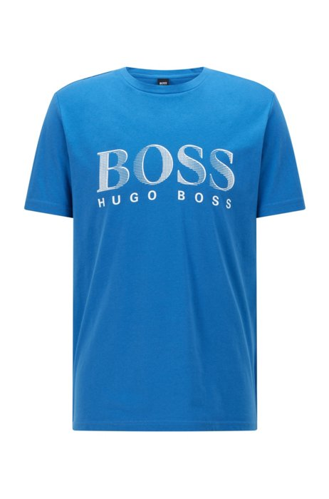 Relaxed-fit T-shirt in UPF 50+ cotton with logo, Light Blue