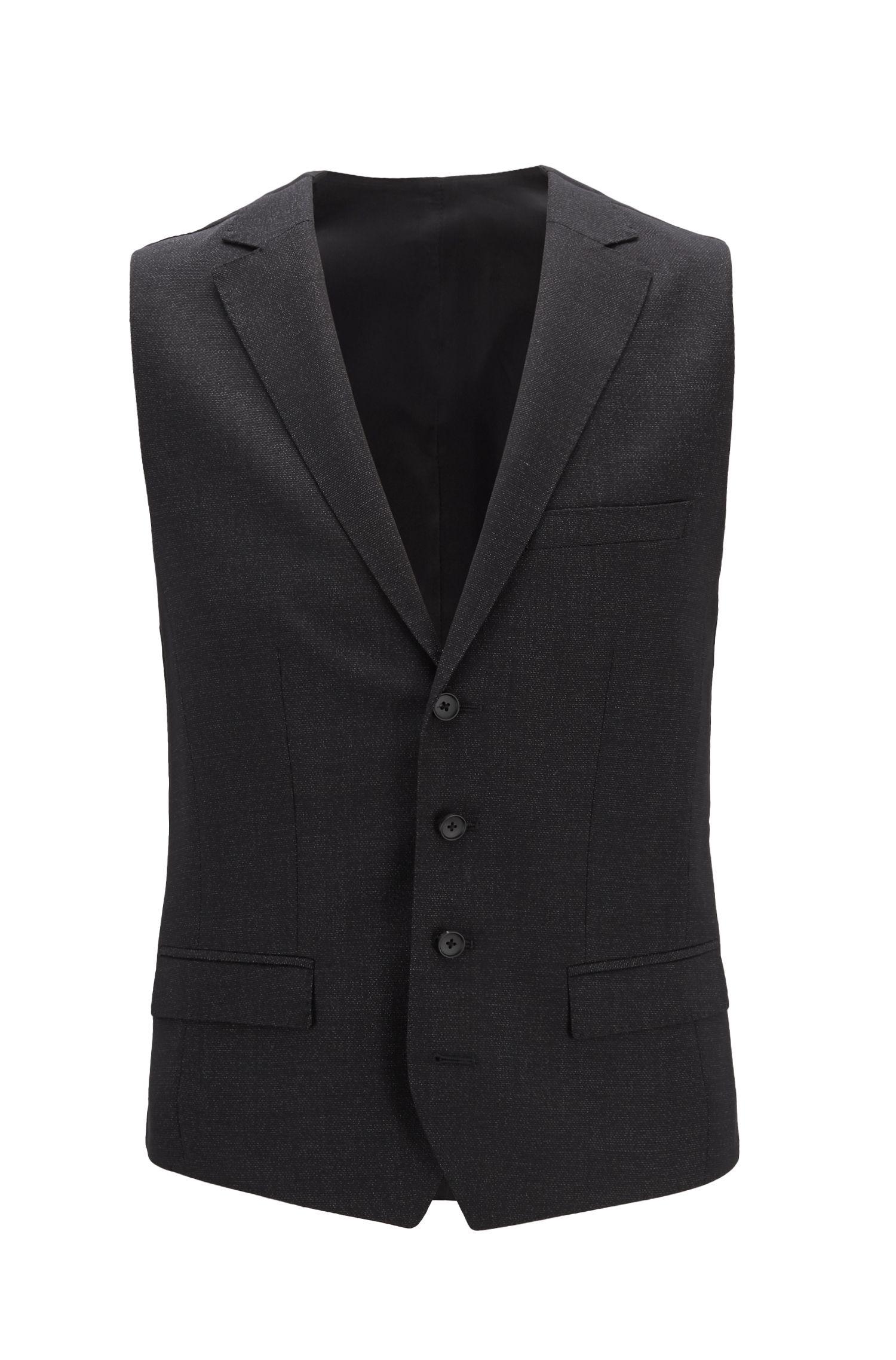 Gilet Slim Fit en laine vierge à micro motif, Noir