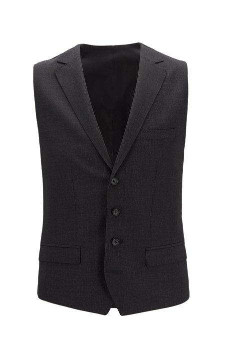 Slim-fit waistcoat in micro-pattern wool, Black