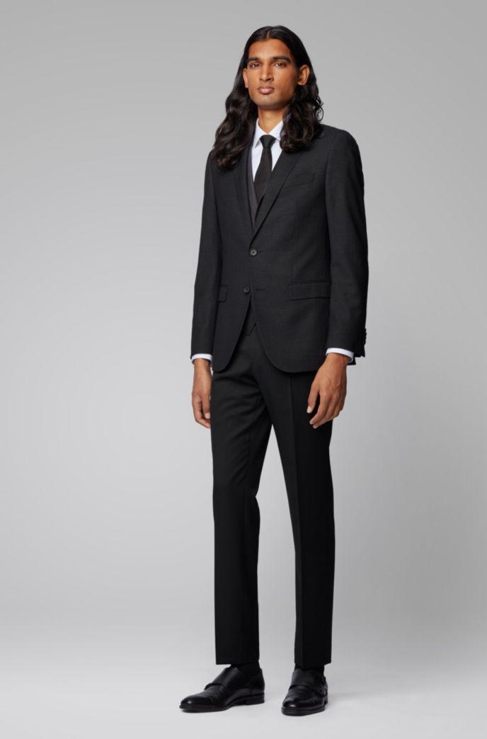 Slim-fit waistcoat in micro-pattern wool
