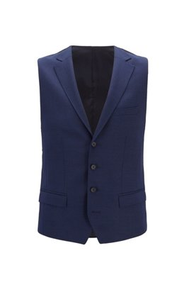 Slim-fit waistcoat in micro-pattern wool, Light Blue