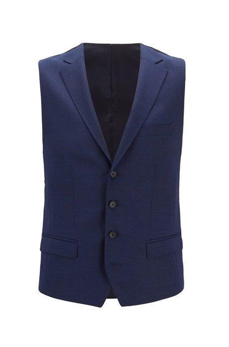 Slim-fit waistcoat in micro-pattern wool, Open Blue
