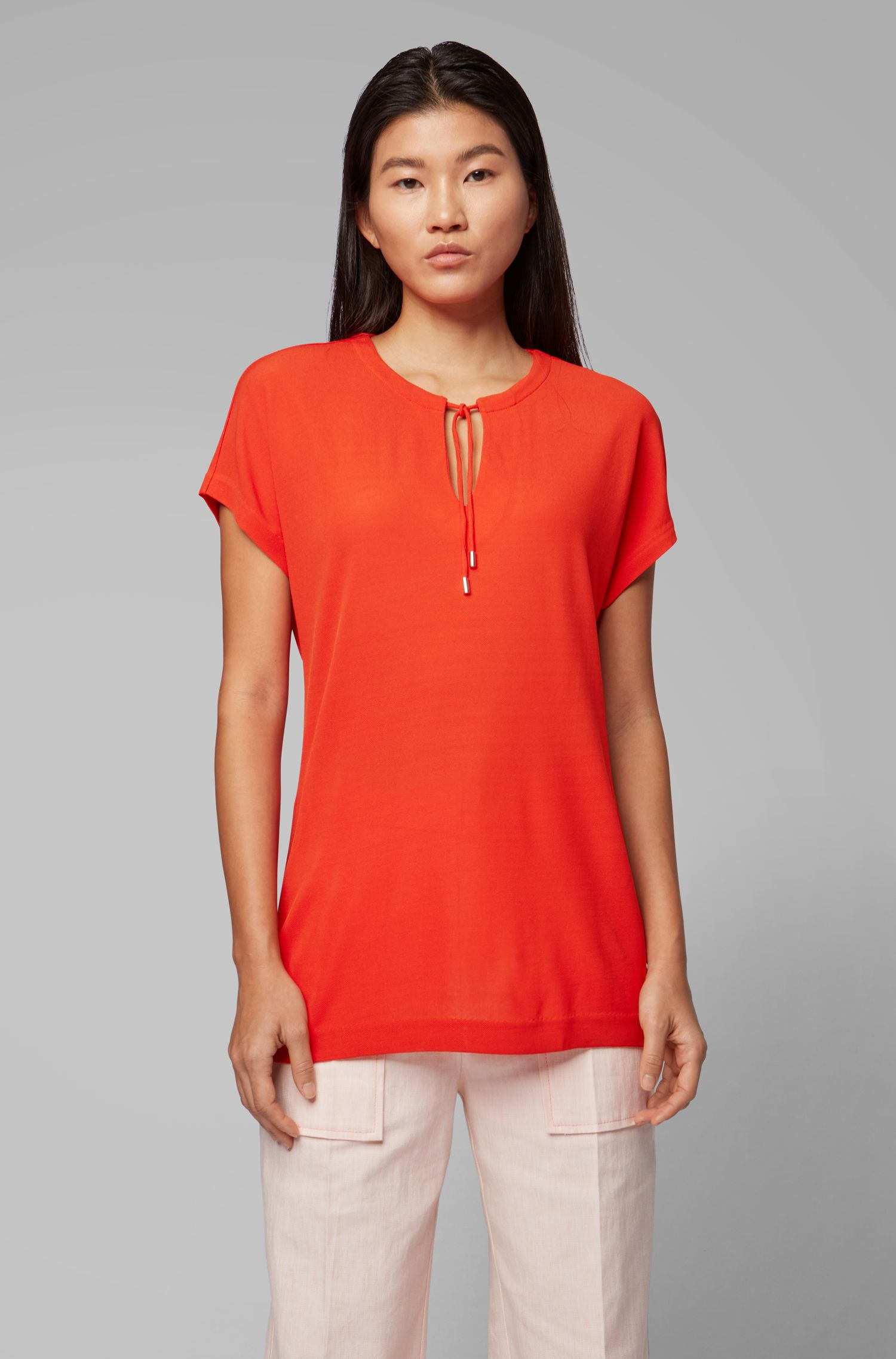 Regular-fit V-neck top with drawcord detail, Red