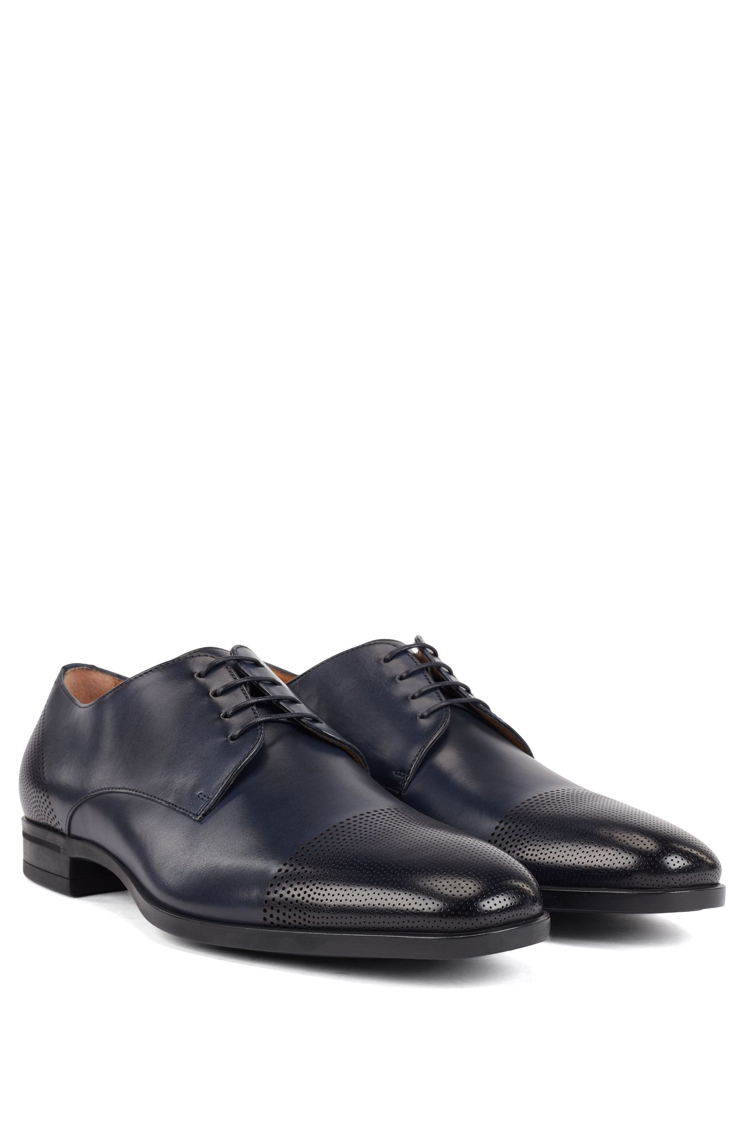 Derby shoes in polished leather with laser-cut details, Dark Blue