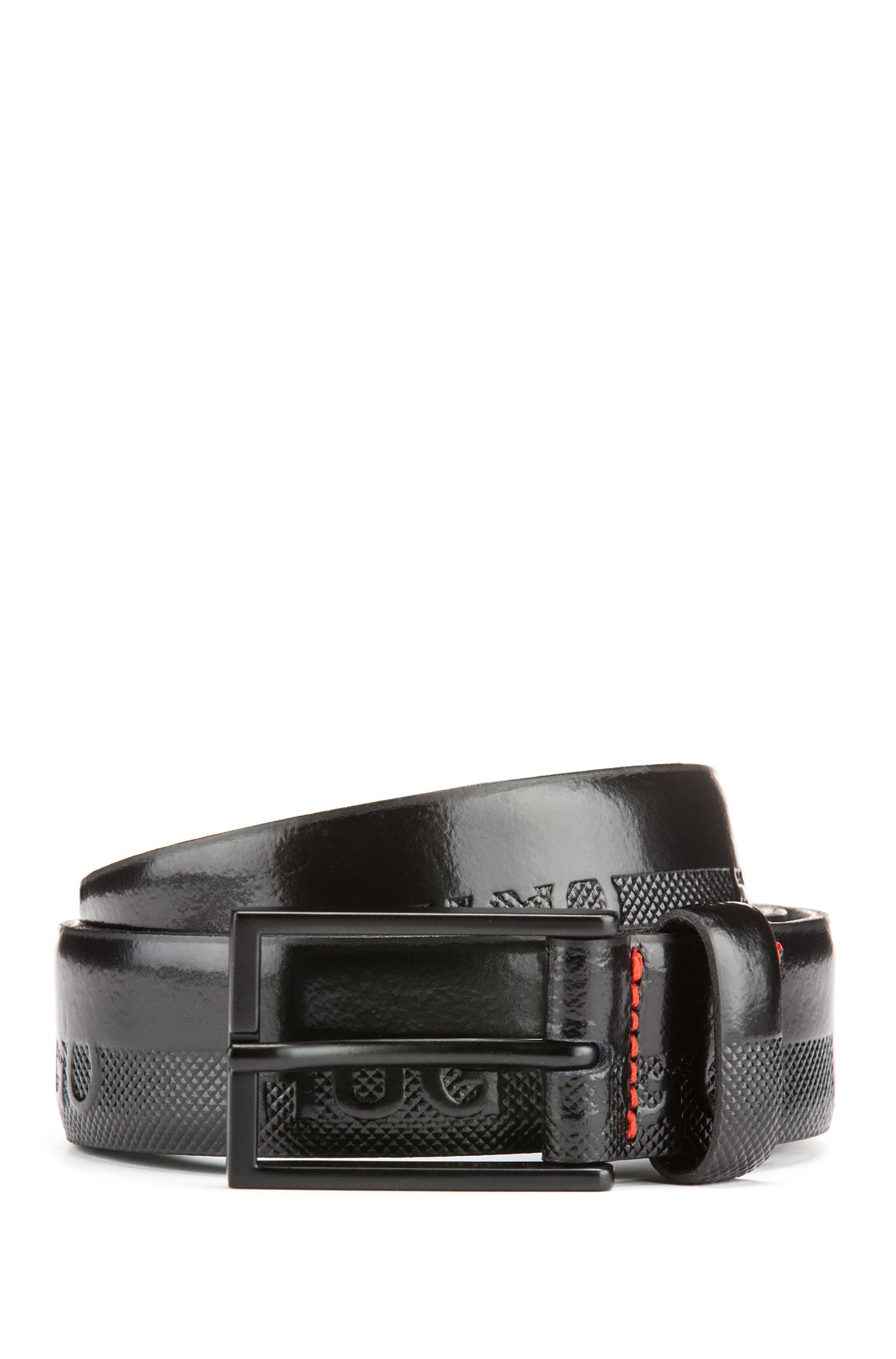 Cinturón con logo elaborado en Italia con piel de diferentes estructuras, Negro