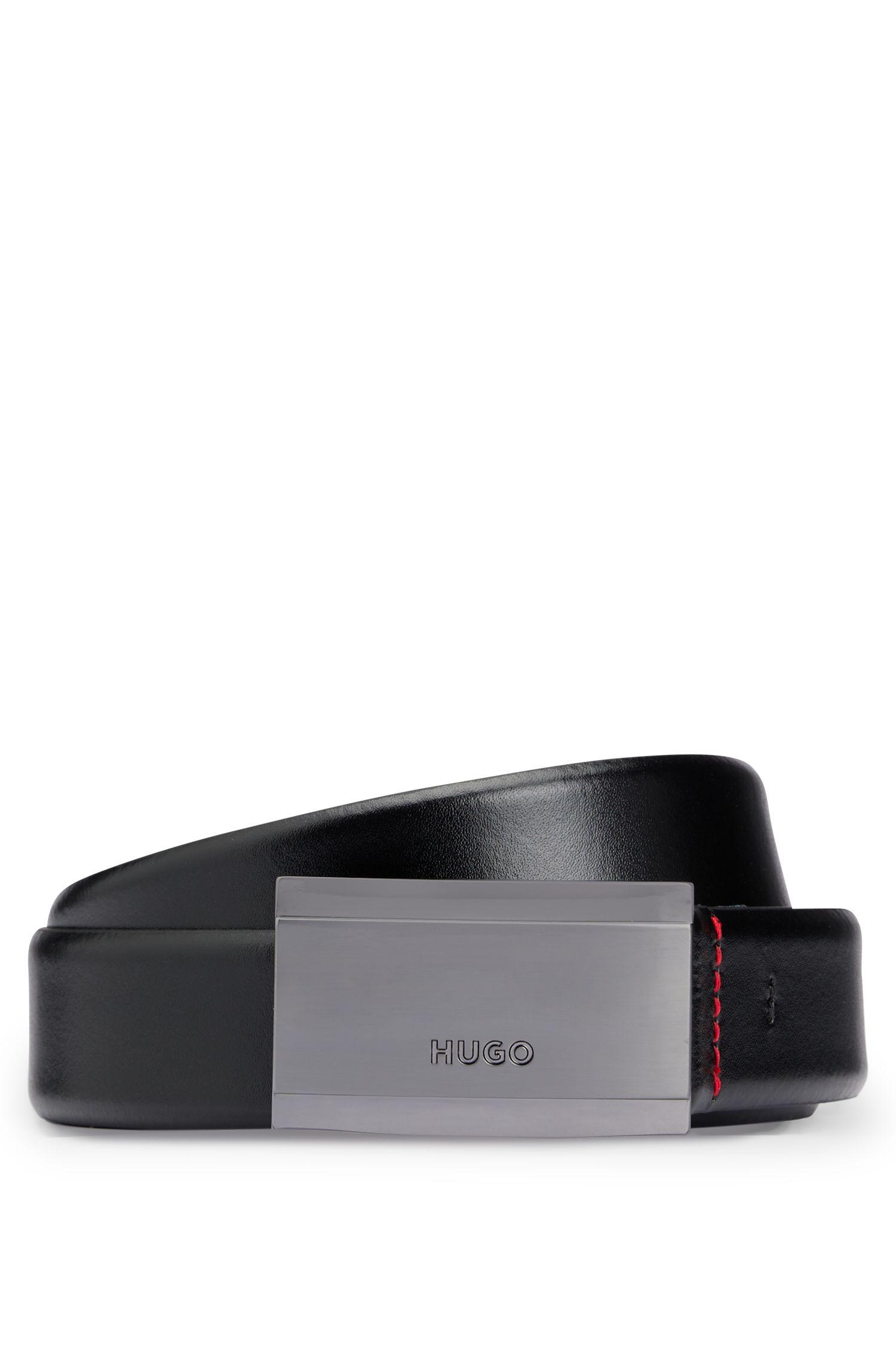 Hugo Boss - Cinturón de piel lisa con hebilla de placa y logo grabado - 1