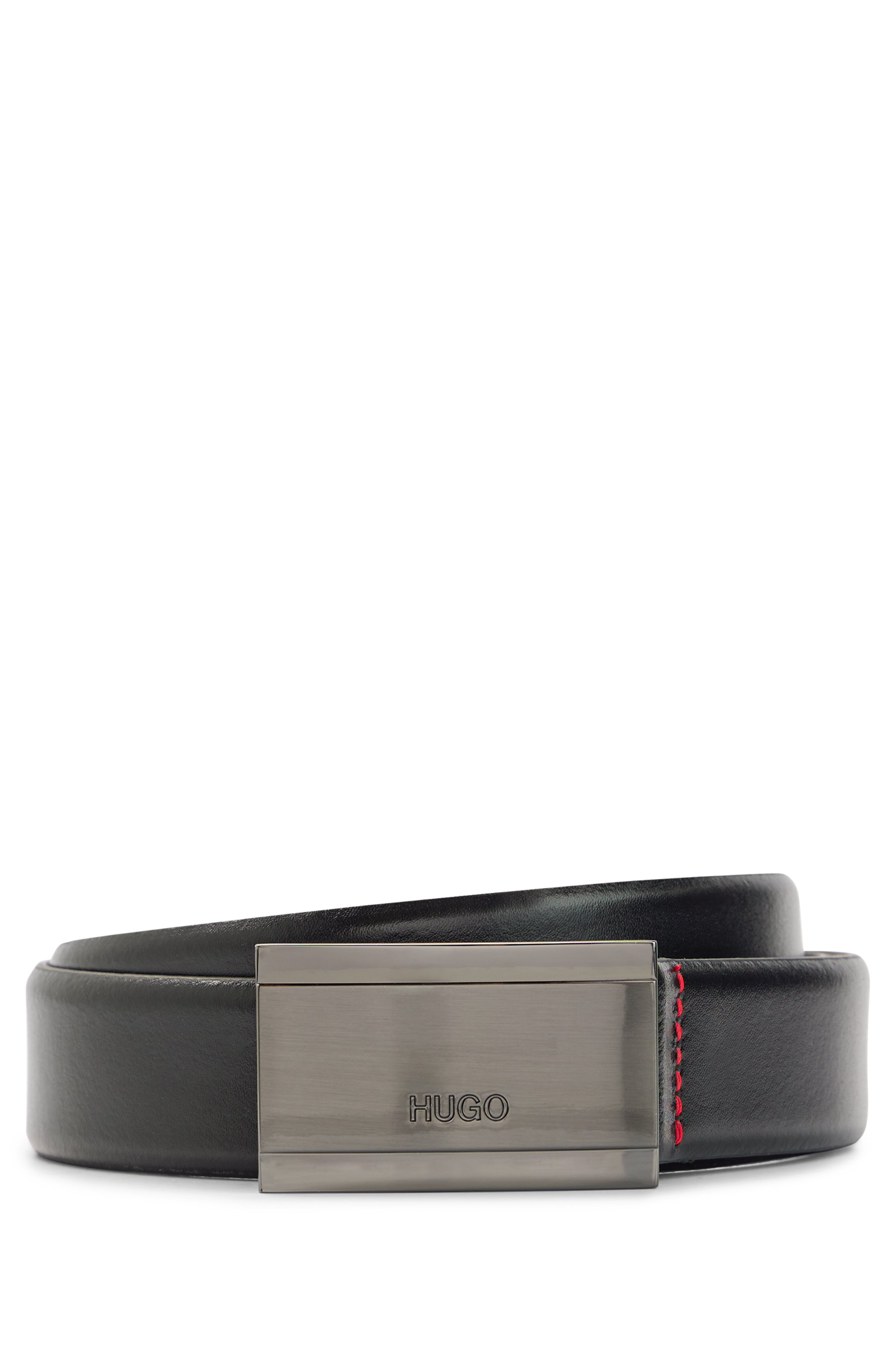 Logo-engraved belt in smooth leather with plaque buckle, Black