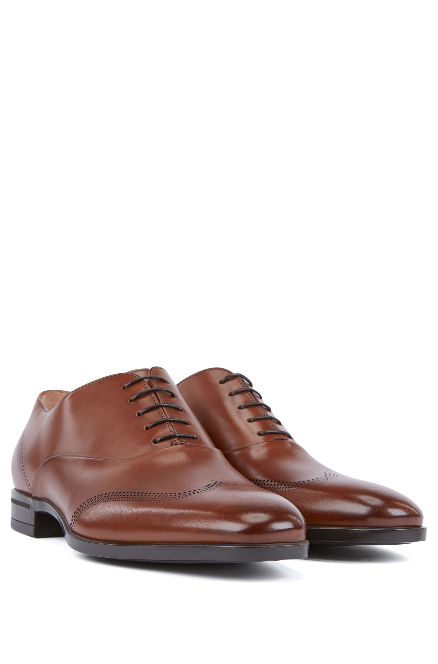 Hugo Boss - Oxford shoes in calf leather with laser-cut detailing - 2