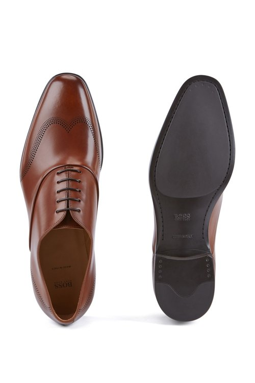 Hugo Boss - Oxford shoes in calf leather with laser-cut detailing - 4